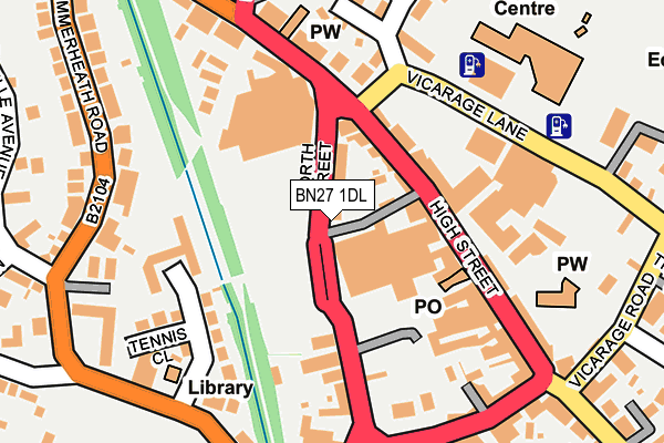BN27 1DL map - OS OpenMap – Local (Ordnance Survey)