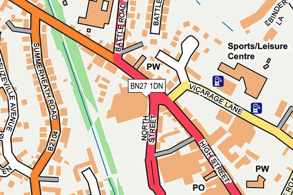 BN27 1DN map - OS OpenMap – Local (Ordnance Survey)