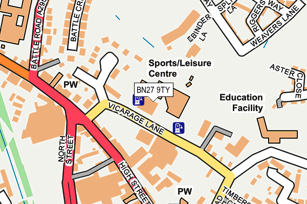 BN27 9TY map - OS OpenMap – Local (Ordnance Survey)