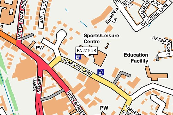 BN27 9UB map - OS OpenMap – Local (Ordnance Survey)