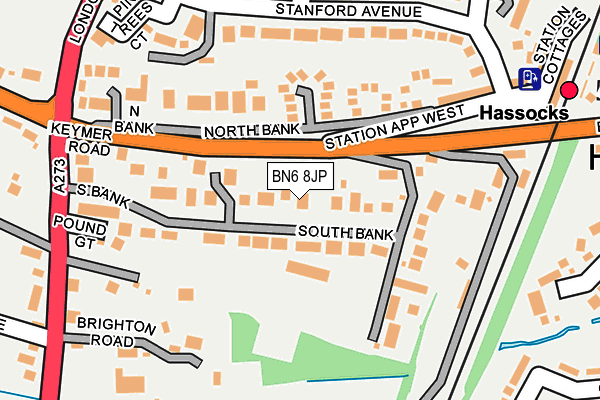 BN6 8JP map - OS OpenMap – Local (Ordnance Survey)