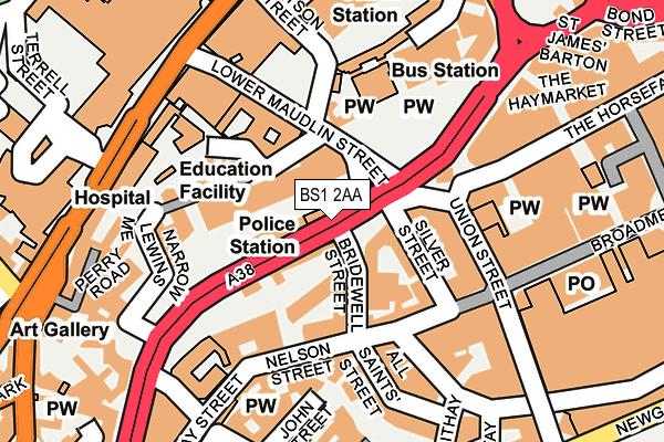 BS1 2AA map - OS OpenMap – Local (Ordnance Survey)