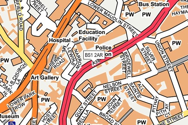 BS1 2AR map - OS OpenMap – Local (Ordnance Survey)