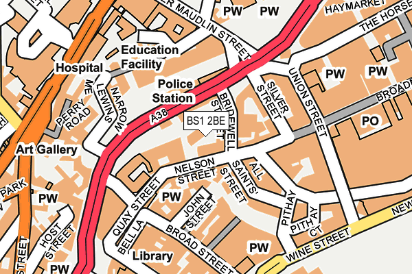 BS1 2BE map - OS OpenMap – Local (Ordnance Survey)