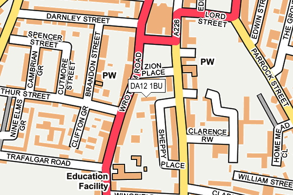 DA12 1BU map - OS OpenMap – Local (Ordnance Survey)