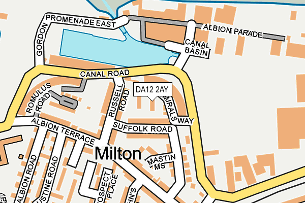 DA12 2AY map - OS OpenMap – Local (Ordnance Survey)