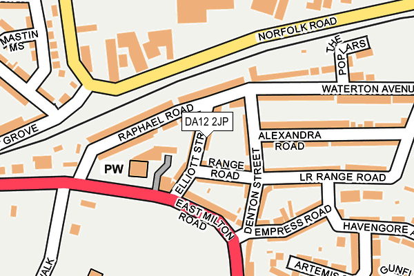 DA12 2JP map - OS OpenMap – Local (Ordnance Survey)