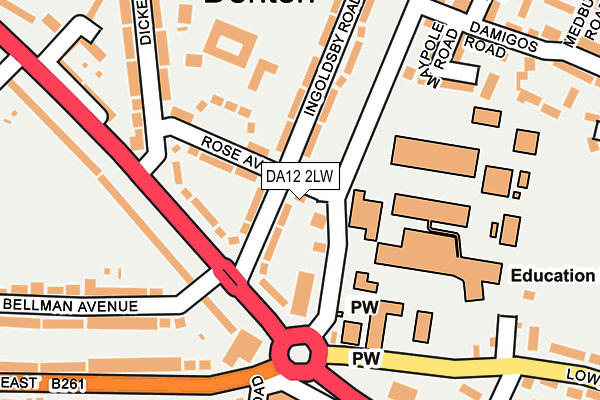 DA12 2LW map - OS OpenMap – Local (Ordnance Survey)