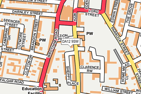 DA12 9SW map - OS OpenMap – Local (Ordnance Survey)