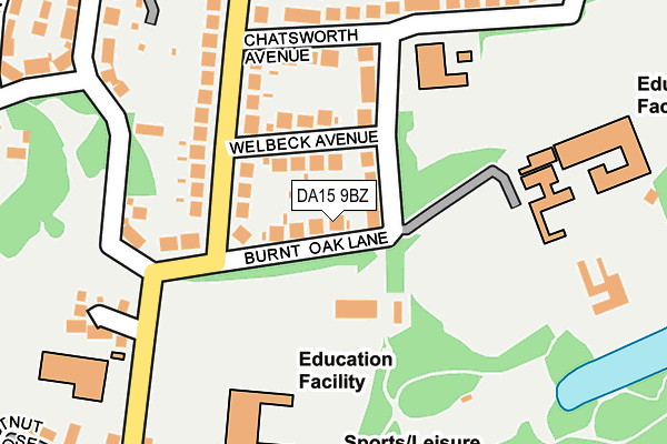 DA15 9BZ map - OS OpenMap – Local (Ordnance Survey)