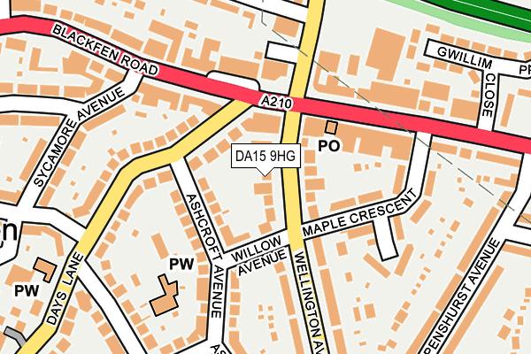 DA15 9HG map - OS OpenMap – Local (Ordnance Survey)