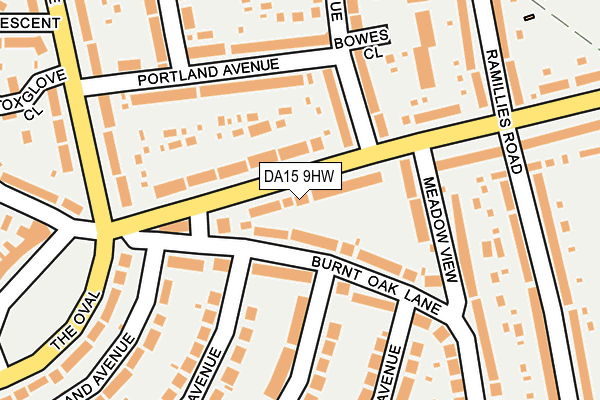 DA15 9HW map - OS OpenMap – Local (Ordnance Survey)