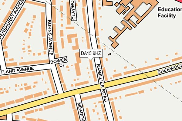 DA15 9HZ map - OS OpenMap – Local (Ordnance Survey)