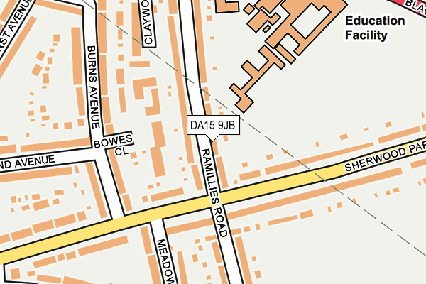 DA15 9JB map - OS OpenMap – Local (Ordnance Survey)