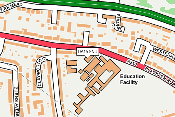 DA15 9NU map - OS OpenMap – Local (Ordnance Survey)