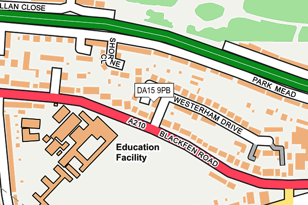 DA15 9PB map - OS OpenMap – Local (Ordnance Survey)