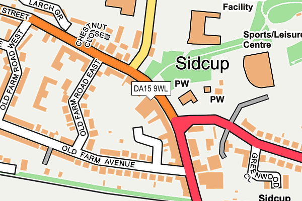 DA15 9WL map - OS OpenMap – Local (Ordnance Survey)