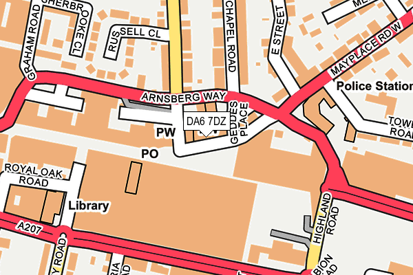 DA6 7DZ map - OS OpenMap – Local (Ordnance Survey)