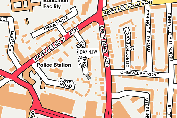 DA7 4JW map - OS OpenMap – Local (Ordnance Survey)