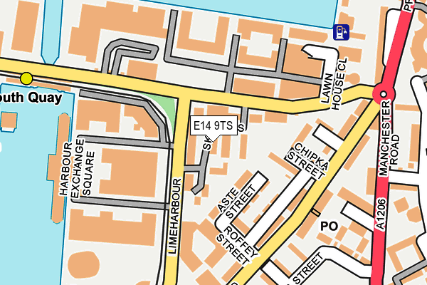 E14 9TS map - OS OpenMap – Local (Ordnance Survey)