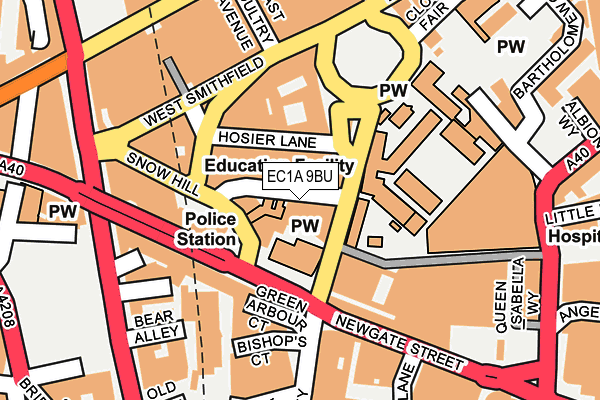 EC1A 9BU map - OS OpenMap – Local (Ordnance Survey)