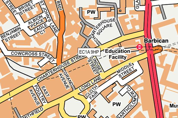 EC1A 9HP map - OS OpenMap – Local (Ordnance Survey)