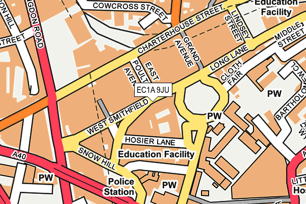 EC1A 9JU map - OS OpenMap – Local (Ordnance Survey)
