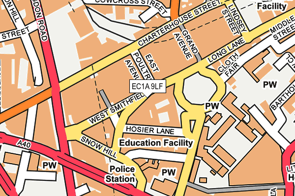 EC1A 9LF map - OS OpenMap – Local (Ordnance Survey)