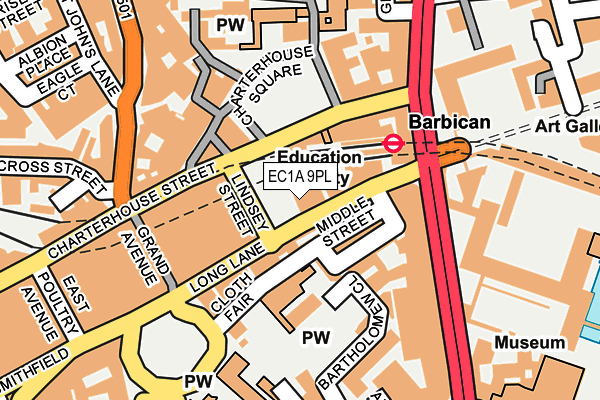 EC1A 9PL map - OS OpenMap – Local (Ordnance Survey)