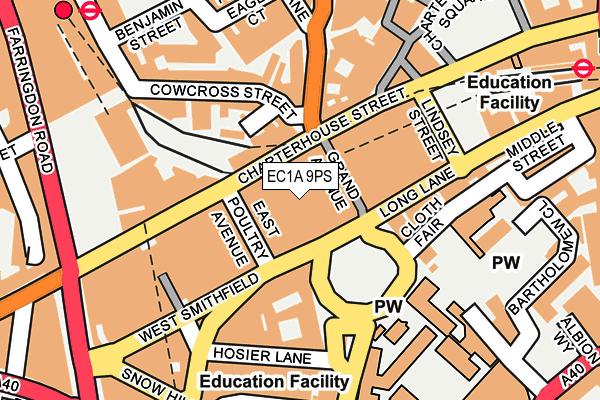 EC1A 9PS map - OS OpenMap – Local (Ordnance Survey)
