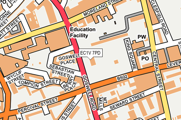 EC1V 7PD map - OS OpenMap – Local (Ordnance Survey)