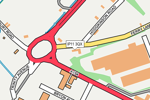IP11 3QX map - OS OpenMap – Local (Ordnance Survey)