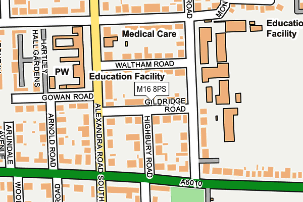 M16 8PS map - OS OpenMap – Local (Ordnance Survey)
