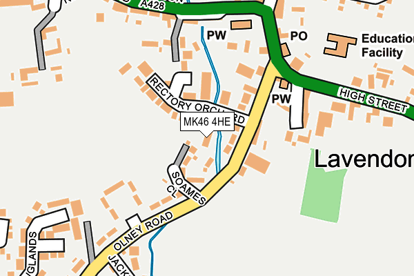 MK46 4HE map - OS OpenMap – Local (Ordnance Survey)