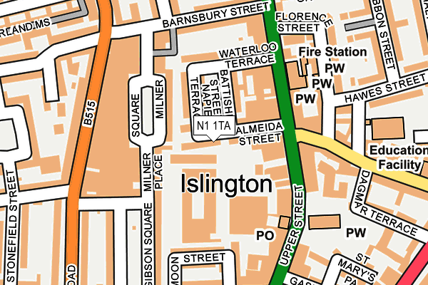 N1 1TA map - OS OpenMap – Local (Ordnance Survey)