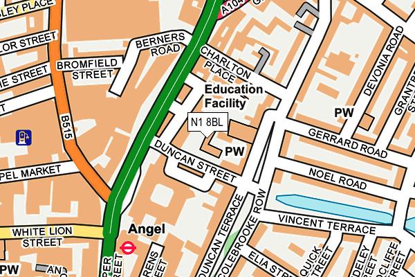 N1 8BL map - OS OpenMap – Local (Ordnance Survey)