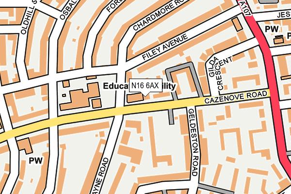 N16 6AX map - OS OpenMap – Local (Ordnance Survey)