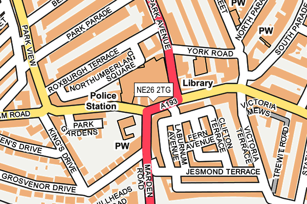 NE26 2TG map - OS OpenMap – Local (Ordnance Survey)