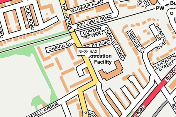 NE28 6AX map - OS OpenMap – Local (Ordnance Survey)
