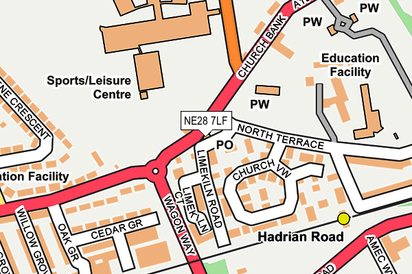 NE28 7LF map - OS OpenMap – Local (Ordnance Survey)