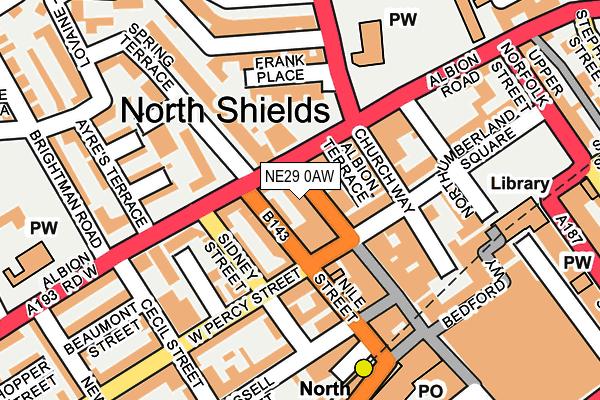 NE29 0AW map - OS OpenMap – Local (Ordnance Survey)
