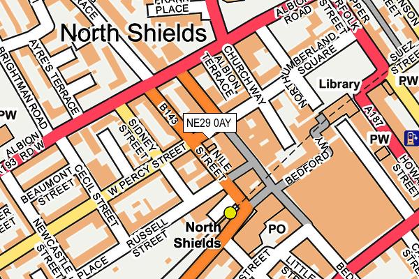 NE29 0AY map - OS OpenMap – Local (Ordnance Survey)