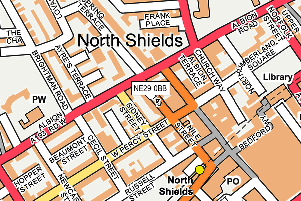 NE29 0BB map - OS OpenMap – Local (Ordnance Survey)