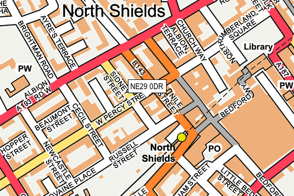 NE29 0DR map - OS OpenMap – Local (Ordnance Survey)