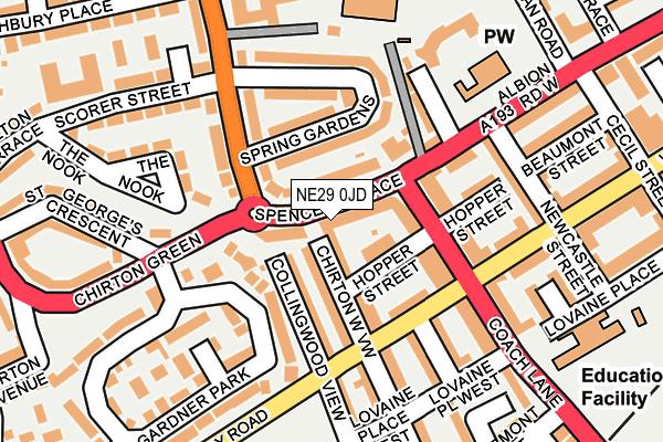 NE29 0JD map - OS OpenMap – Local (Ordnance Survey)