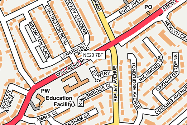 NE29 7BT map - OS OpenMap – Local (Ordnance Survey)