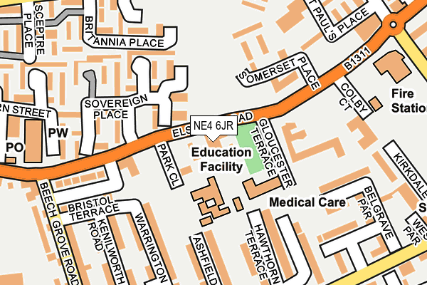 NE4 6JR map - OS OpenMap – Local (Ordnance Survey)