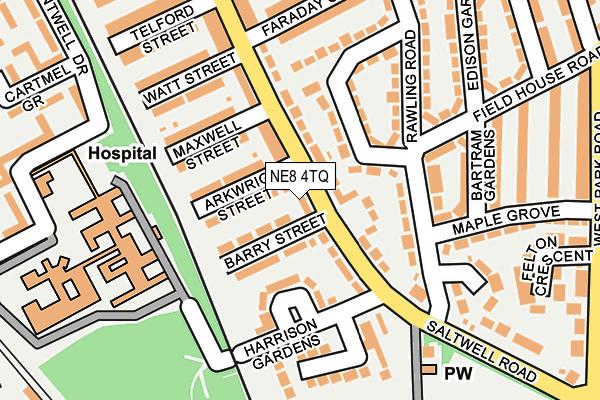 NE8 4TQ map - OS OpenMap – Local (Ordnance Survey)