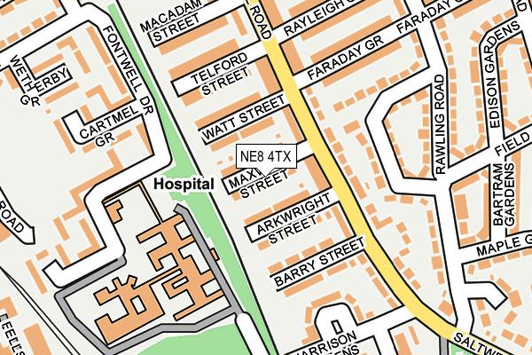 NE8 4TX map - OS OpenMap – Local (Ordnance Survey)