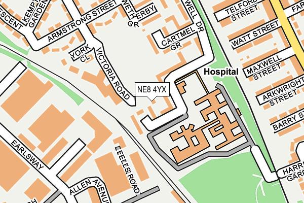 NE8 4YX map - OS OpenMap – Local (Ordnance Survey)